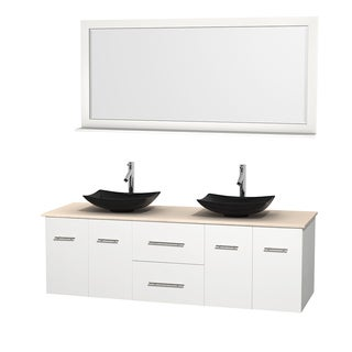 Wyndham Collection Centra White 72-inch Double Ivory Marble Bathroom Vanity with Mirror