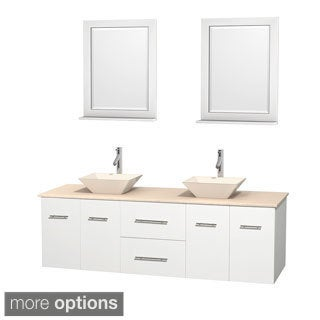 Wyndham Collection Centra White 72-inch Double Ivory Marble Bathroom Vanity with Mirrors