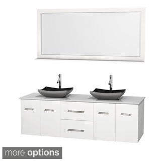 Wyndham Collection Centra White 72-inch Double White Man-made Stone Bathroom Vanity with Mirror