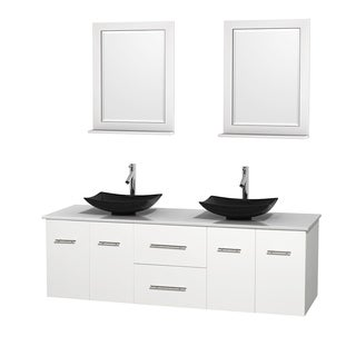 Wyndham Collection Centra White 72-inch Double White Man-made Stone Bathroom Vanity with Mirrors