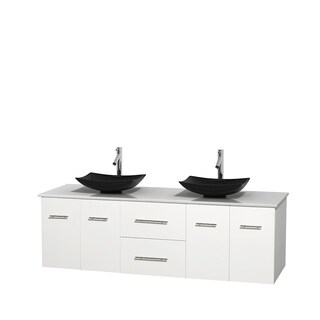 Wyndham Collection Centra White 72-inch Double White Man-made Stone Vanity