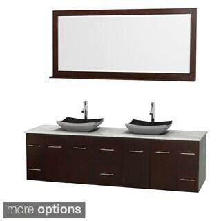 Wyndham Collection Centra Espresso 80-inch Double Carrera Marble Bathroom Vanity with Mirror