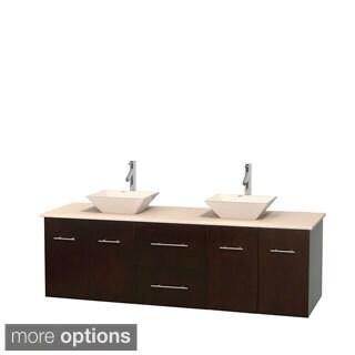 Wyndham Collection Centra Espresso 72-inch Double Ivory Marble Bathroom Vanity
