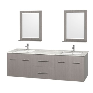 Wyndham Collection Centra Grey Oak 72-inch Double Carrera Marble Bathroom Vanity with Mirrors