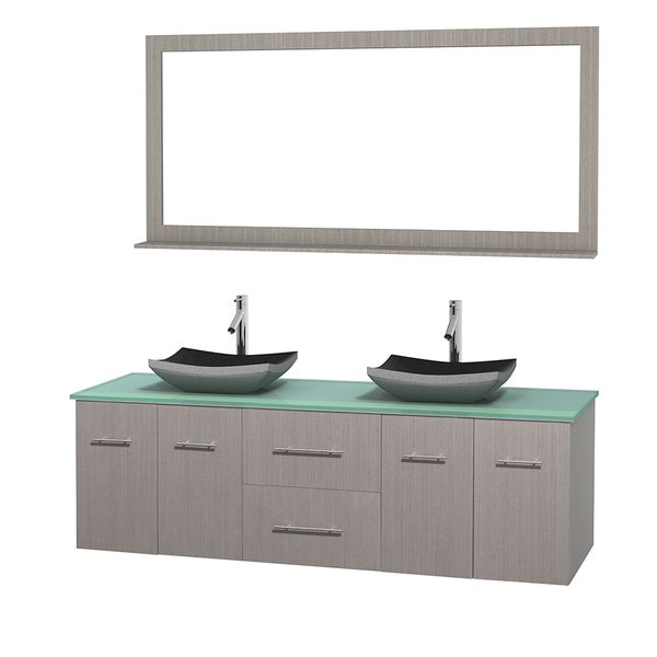 Wyndham Collection Centra Grey Oak 72-inch Double Green Glass Bathroom Vanity with Mirror