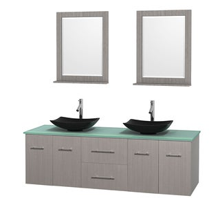 Wyndham Collection Centra Grey Oak 72-inch Double Green Glass Bathroom Vanity with Mirrors