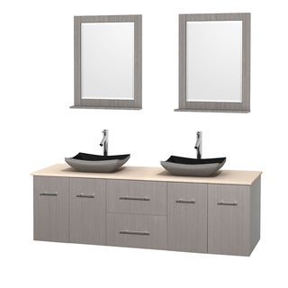 Wyndham Collection Centra Grey Oak 72-inch Double Ivory Marble Bathroom Vanity with Mirrors