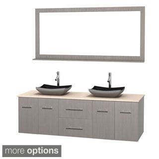 Wyndham Collection Centra Grey Oak 72-inch Double Ivory Marble Bathroom Vanity with Mirror