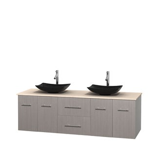 Wyndham Collection Centra Grey Oak 72-inch Double Ivory Marble Vanity