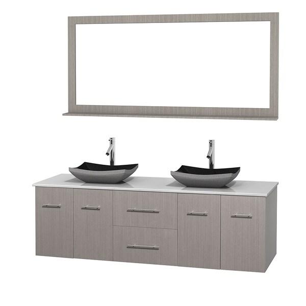 Centra 72-inch Double Grey Oak Vanity with Mirror