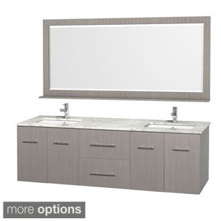 Wyndham Collection Centra Grey Oak 72-inch Double Carrera Marble Bathroom Vanity with Mirror