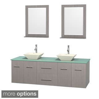 Wyndham Collection Centra Grey Oak 72 Inch Double Green Glass Bathroom  Vanity With Mirrors