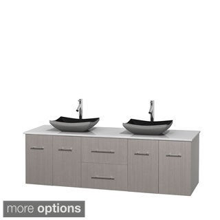 Wyndham Collection Centra Grey Oak 72-inch Double White Man-made Stone Vanity