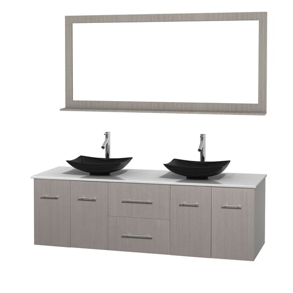 Wyndham Collection Centra Grey Oak 72-inch Double White Man-made Stone Bathroom Vanity with Mirror