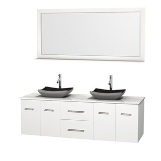 Wyndham Collection Centra White 72-inch Double Carrera Marble Bathroom Vanity with Mirror