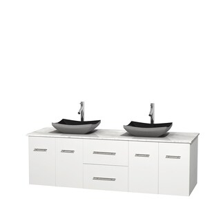 Wyndham Collection Centra White 72-inch Double Carrera Marble Vanity