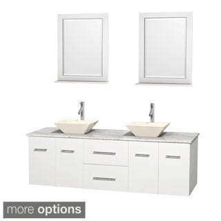 Wyndham Collection Centra White 72-inch Double Carrera Marble Bathroom Vanity with Mirrors