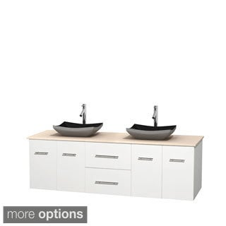 Wyndham Collection Centra White 72-inch Double Ivory Marble Vanity