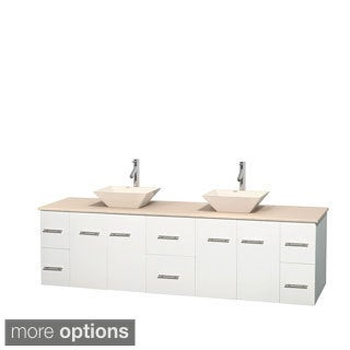Wyndham Collection Centra White 80-inch Double Ivory Marble Vanity