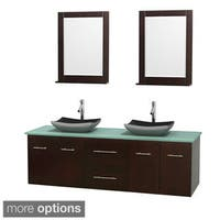 Wyndham Collection Centra 72-inch Double Bathroom Vanity in Espresso, w/ Mirrors (Black Granite, Ivory Marble or White Carrera)