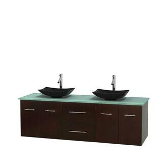 Wyndham Collection Centra 72-inch Double Bathroom Vanity in Espresso, No Mirror (Black Granite, Ivory Marble or White Carrera)