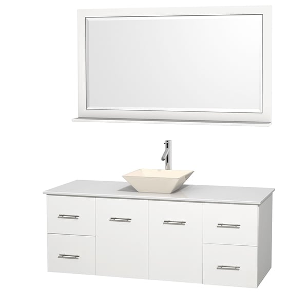 Wyndham Collection Centra 60-inch Single Bathroom Vanity in White, w/ Mirror (Bone Porcelain or White Porcelain)