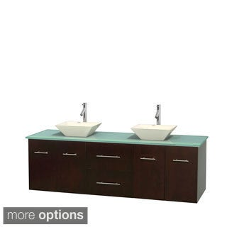 Wyndham Collection Centra 72-inch Double Bathroom Vanity in Espresso, No Mirror (Bone Porcelain or White Porcelain)