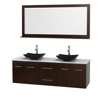 Wyndham Collection Centra 72-inch Double Bathroom Vanity in Espresso, w/ Mirror (Black Granite, Ivory Marble or White Carrera)
