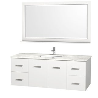 Wyndham Collection Centra 60-inch Single Bathroom Vanity in White, with Mirror