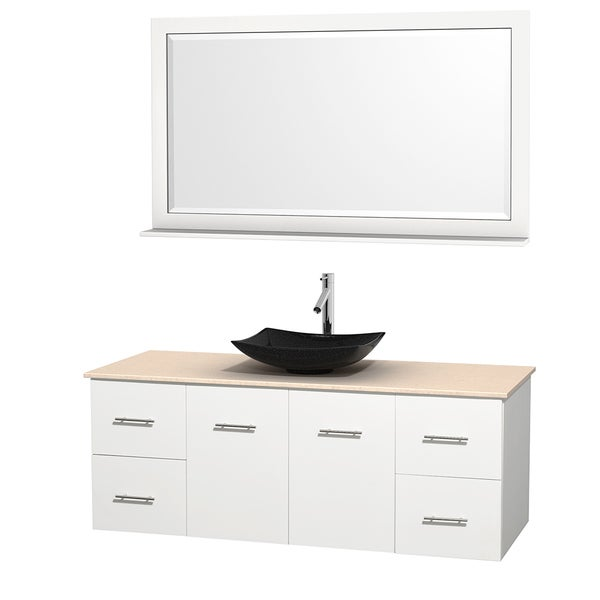 Wyndham Collection Centra 60-inch Single Bathroom Vanity in White, w/ Mirror (Black Granite, Ivory Marble or White Carrera)