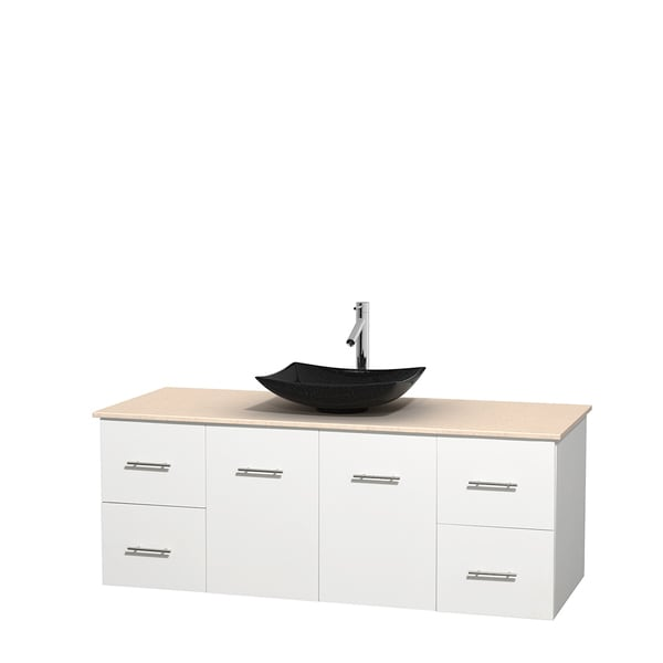 Wyndham Collection Centra 60-inch Single Bathroom Vanity in White, No Mirror (Black Granite, Ivory Marble or White Carrera)