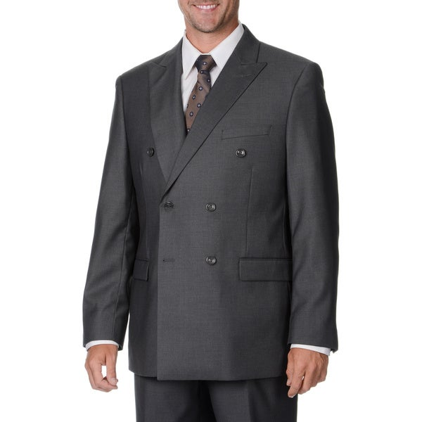 Caravelli Italy Men's Grey Double Breasted Suit - Free Shipping ...