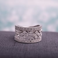 Miadora Sterling Silver 1/4ct TDW Vintage Diamond Anniversary Band