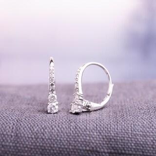 Miadora 10k White Gold 1/ 3ct TDW Diamond Dangle Earrings