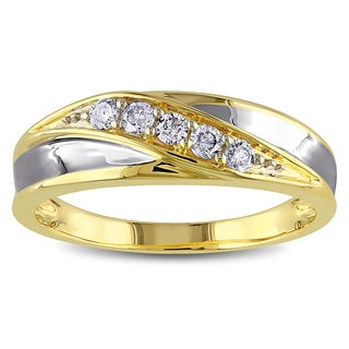 Miadora 10k Yellow Gold Men's 1/4ct TDW Diamond Ring