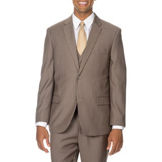 Caravelli Italy Men's Tan Pinstripe Vested Suit
