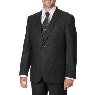 Caravelli Italy Men's Grey Pinstripe Vested Suit