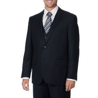 Caravelli Italy Men's Navy Pinstripe Vested Suit