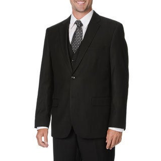 Caravelli Italy Men's Black Pinstripe Vested Suit