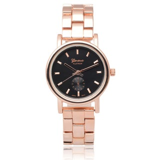 Geneva Platinum Round Face Link Watch