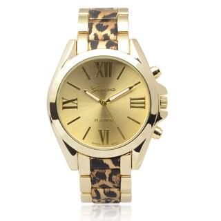 Geneva Platinum Round Face Leopard Print Link Watch