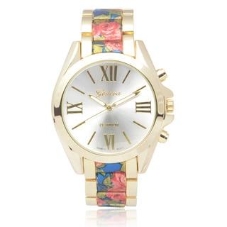Geneva Platinum Round Face Floral Print Link Watch