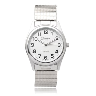 Geneva Platinum Mens Stainless Steel Stretch Watch