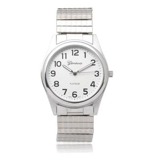 Geneva Platinum Mens Stainless Steel Stretch Watch