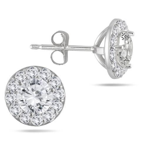 14k White Gold 1ct TDW Diamond Halo Stud Earrings