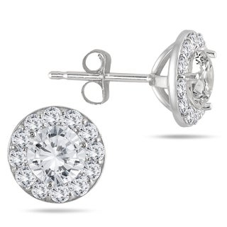 14k White Gold 1ct TDW Diamond Halo Stud Earrings (I-J, I2-I3)