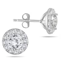 14k White Gold 1ct TDW Diamond Halo Stud Earrings