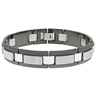 Stainless Steel Gun Metal Grey Ion-plated Link Bracelet