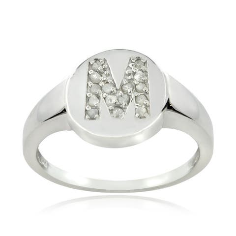 DB Designs Sterling Silver 1/6ct TDW Diamond M Initial Ring