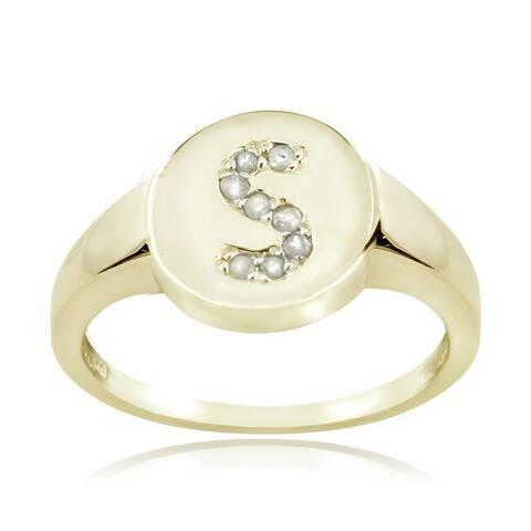 DB Designs Sterling Silver 1/10CT TDW Diamond S Initial Ring